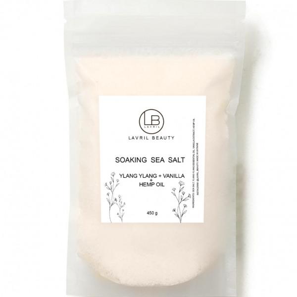 Соль для ванн концентрированная с коноплей, иланг-илангом и экстрактом ванили
