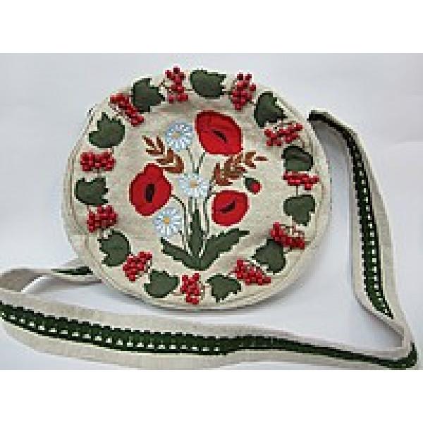Сумка женская из конопляной ткани «Маки», аппликация, ручная вышивка
